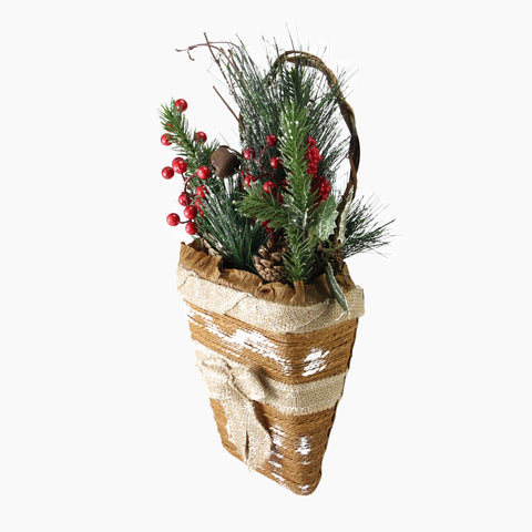 "13.5"" Brown and Green Frosted Pine Cones Artificial Christmas Basket"