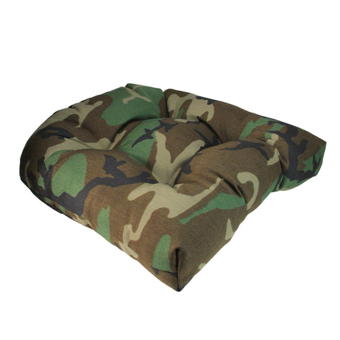 "19"" Tufted Wicker Furniture Patio Chair Seat Cushion - Woodland Terrace Camo"