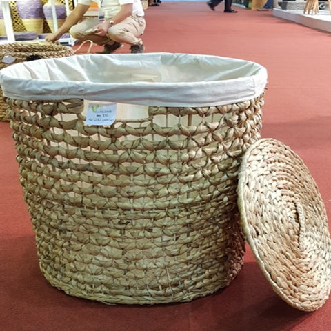 "16"" Natural Color Water Hyacinth Basket with Lining"