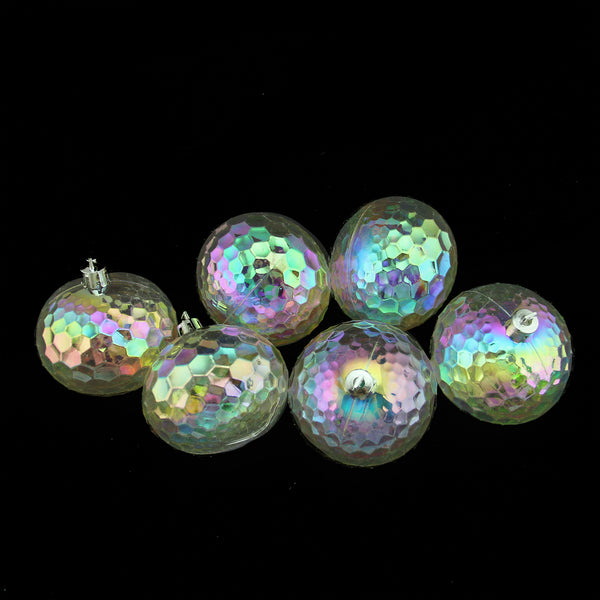 "6ct Clear Shatterproof Iridescent Hammered Christmas Ball Ornaments 2.5"" (60mm)"