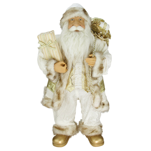 "24"" Glorious Winter White and Ivory Standing Santa Claus Christmas Figure with Gift Bag"