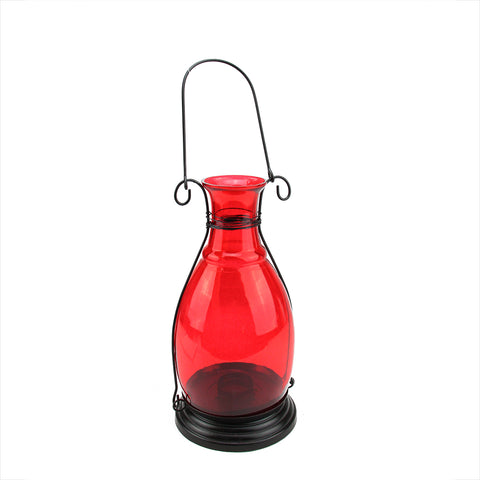 "10.5"" Transparent Red Decorative Glass Bottle Vase Tea Light Candle Lantern"