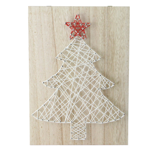 "11"" White and Red String Christmas Tree Wall Decor"