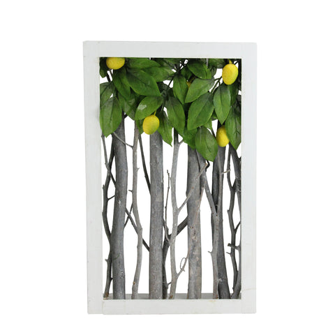"14.5"" White Birch Branch Lemon Tree Rustic Wooden Frame Decoration"