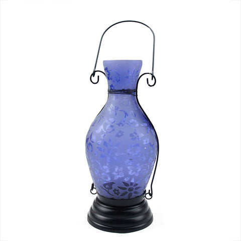 "11.75"" Transparent Blue Decorative Glass Bottle Tea Light Candle Lantern with Flower Etching"