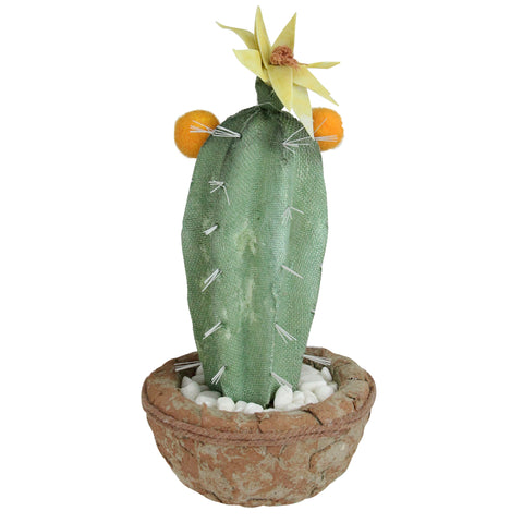 "12"" Green Potted Southwestern Style Artificial Cactus Plant with Flowers"