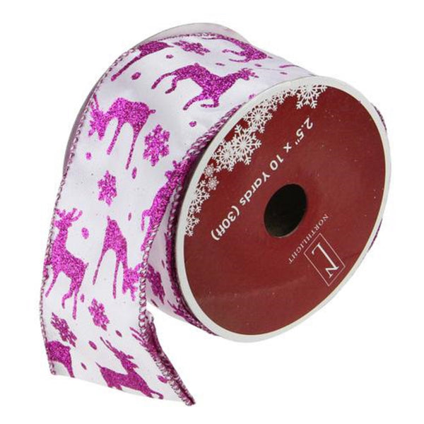 "Glistening Purple Reindeer and Star Christmas Wired Craft Ribbon 2.5"" x 10 Yards"