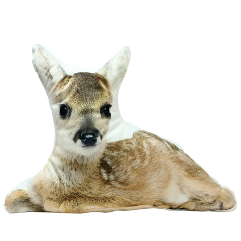 "17"" Brown and White Resting Fawn Ultra Soft Throw Pillow"