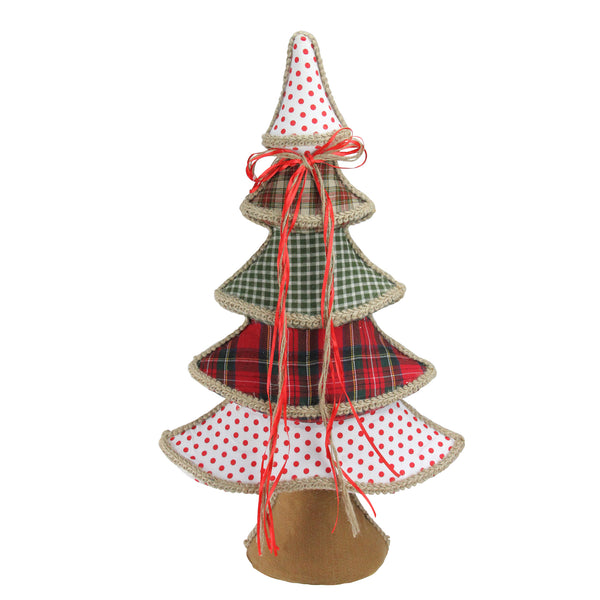 "23"" Holiday Moments Red, Green and White Plaid and Polka Dot Christmas Tree Decoration"