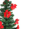 5' Pre-Lit Medium Fiber Optic Artificial Christmas Tree with Red Poinsettias - Multicolor Lights