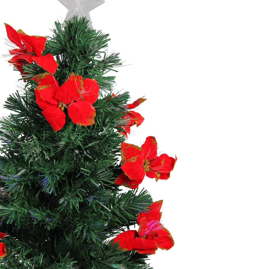 3\' Prelit Medium Fiber Optic Artificial Christmas Tree with Red Poinsettias  - Multicolor Lights