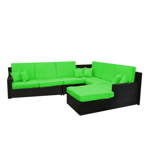 6pc Black and Lime Green Wicker Outdoor Furniture Sectional Sofa Set with Cushions 102""