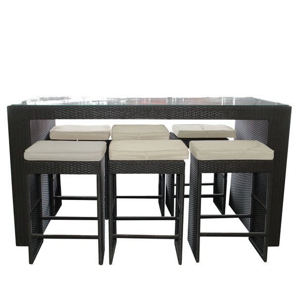 7-Piece Black Resin Wicker Outdoor Furniture Bar Dining Set - Beige Cushions