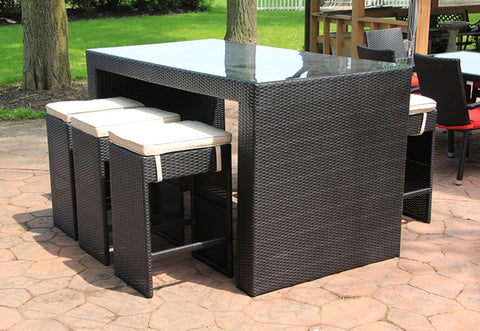 7-Piece Black and White Wicker Outdoor Patio Furniture Bar Dining Set with Cushions - 78""