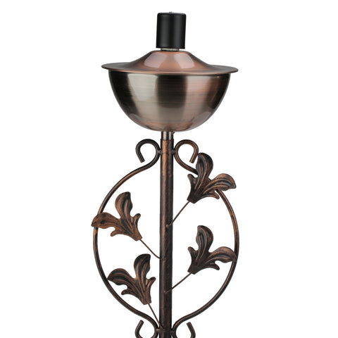 "64.5"" Brushed Copper Floral Motif Outdoor Patio Garden Oil Lamp Torch"