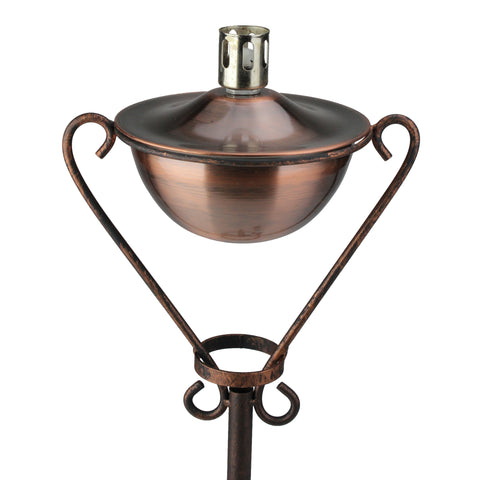 "61"" Brushed Copper Half Moon Oil Lamp Outdoor Patio Torch"