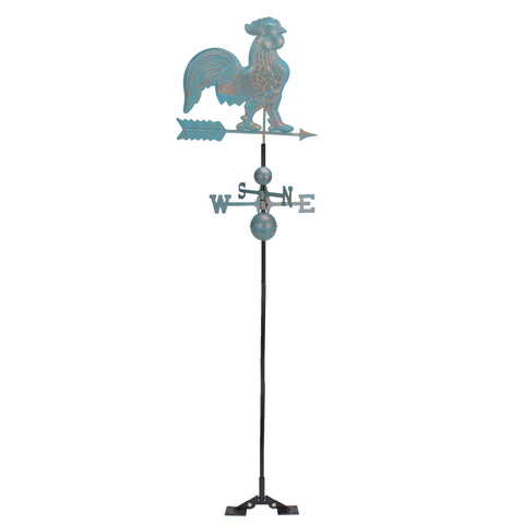 3' Polished Weathered Patina Rooster Outdoor Weathervane