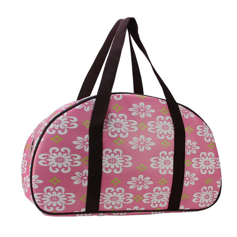 "20"" Decorative Pink and White Flower Design Travel Bag/Purse with Brown Handles"