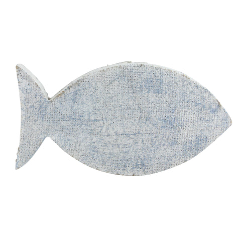 "10.6"" Cape Cod Inspired Table Top White and Blue Fish Decoration"