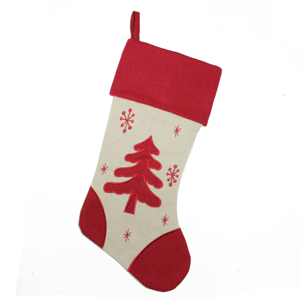 "18"" Red and Ivory Tree with Snowflakes Christmas Stocking"