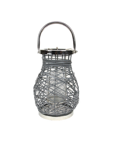 "13.5"" Modern Gray Decorative Woven Iron Pillar Candle Lantern with Glass Hurricane"