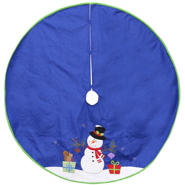 "48"" Blue and White Snowman Christmas Tree Skirt Decor"