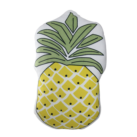 "18"" Green and Yellow Pineapple Shaped Plush Fleece Throw Pillow"