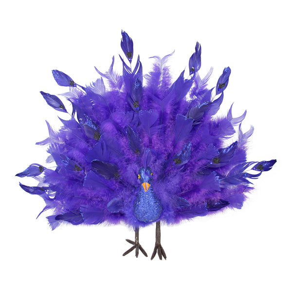 "20"" Blue and Purple Regal Peacock with Open Tail Feathers Christmas Decoration"