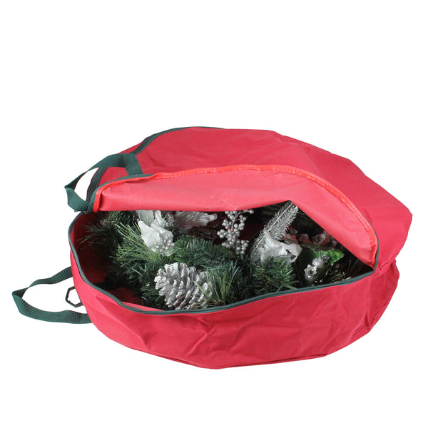 "24"" Red Durable Christmas Wreath or Spiral Tree Protective Storage Bag w/Handles"