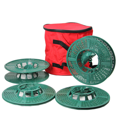 Set of 4 Christmas Light Storage Reels with Red and Green Polyester Zip Up Bag