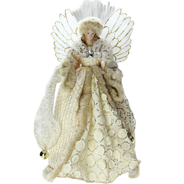 "16"" Ivory and Gold Angel in Sequined Gown Christmas Tree Topper"