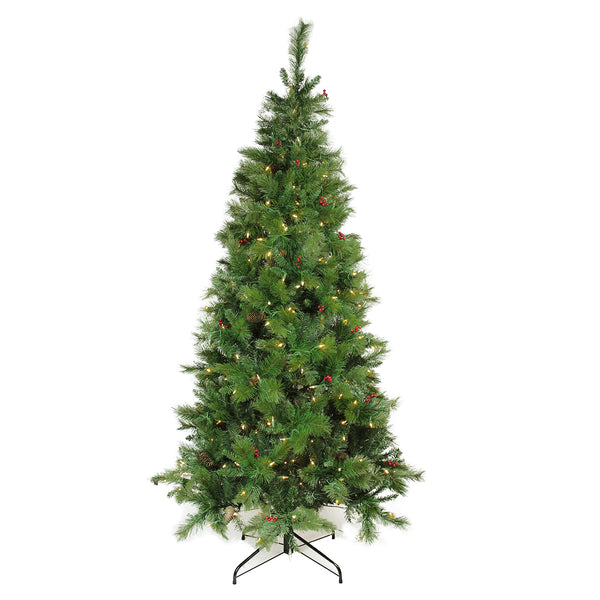 7' Pre-Lit Slim Mount Beacon Pine Artificial Christmas Tree - Multicolor LED Lights