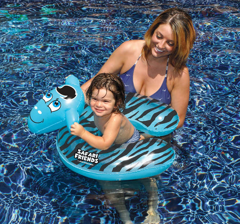 "24"" Inflatable Black and Blue Zebra Split Ring Swimming Pool Child Float"