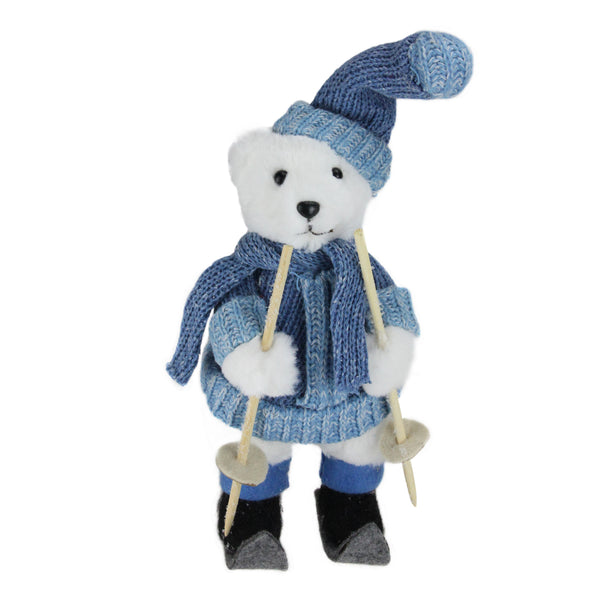 "15"" White and Blue Skiing Bear Christmas Tabletop Figurine"