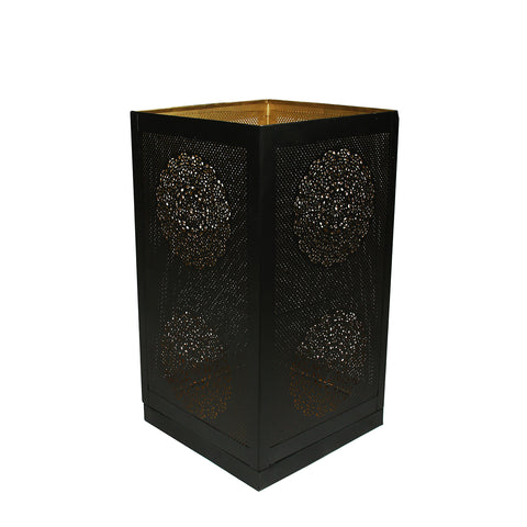 "17"" Black and Gold Moroccan Style Floral Cut-Out Pillar Candle Lantern"