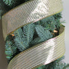 "Shiny Gold and White Diagonal Striped Wired Christmas Craft Ribbon 2.5"" x 10 Yards"