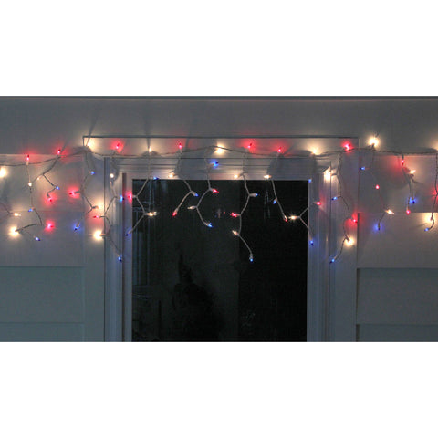 105 Red, White and Blue 4th of July Mini Icicle Lights - 6.5 ft White Wire