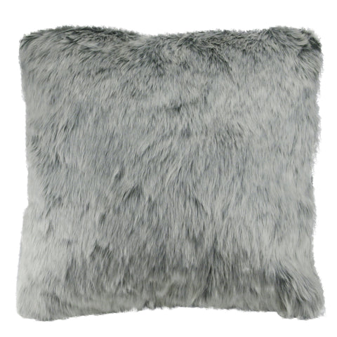 "18"" Gray and White Faux Fur Super Plush Indoor Square Throw Pillow"
