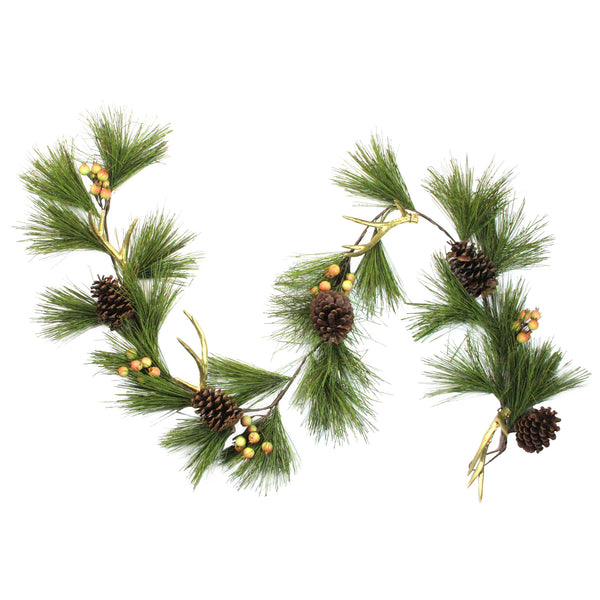 6' Green and Brown Pine Needle with Pinecones Garland - Unlit