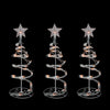 Set of 3 White Clear Lighted Spiral Cone Walkway Christmas Trees Outdoor Decor 18""