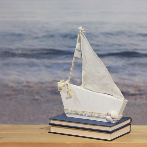 "11.5"" White and Tan Cape Cod Inspired Ship with Sails Table Top Decoration"