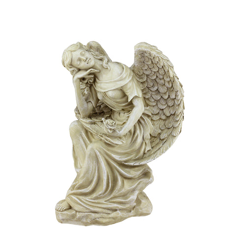 "12"" Ivory Daydreaming Angel with Rose Outdoor Patio Garden Statue"