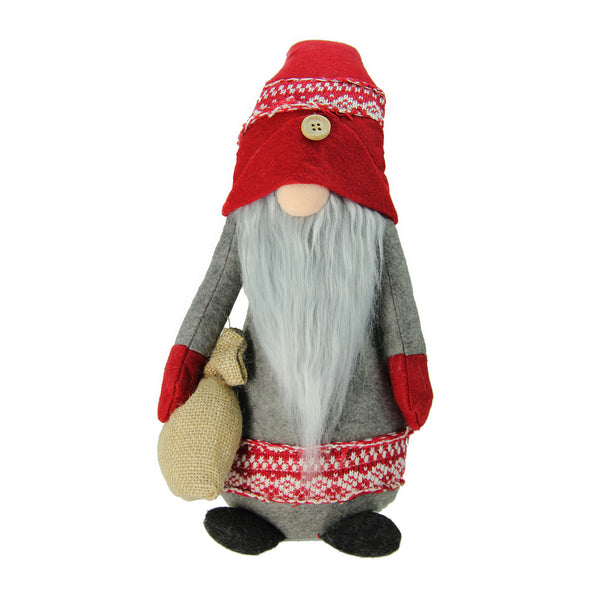 "25"" Red and Gray Nordic Santa Christmas Gnome with Burlap Sack Tabletop Figure"