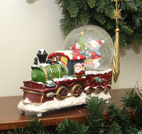 "9.5"" Brown and White Santa Claus Driving Train Christmas Tabletop Decor"