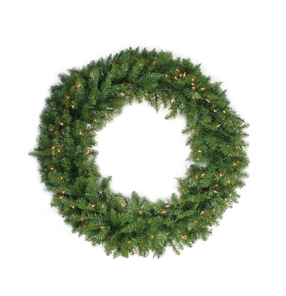 "24"" Pre-Lit Northern Pine Artificial Christmas Wreath - Clear Lights"