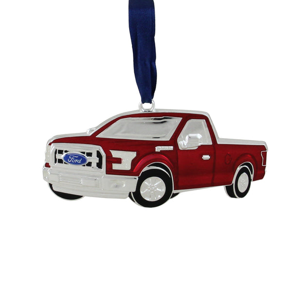 "4"" Red and Silver Ford F-150 Pick Up Truck Collectible Christmas Ornament"