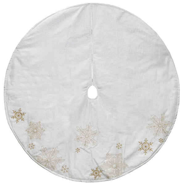 "48"" Gold and White Snowflake Embroidered Christmas Tree Skirt"