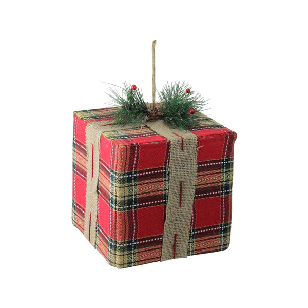 "8.5"" Red and Brown Gift Box Christmas Ornament"