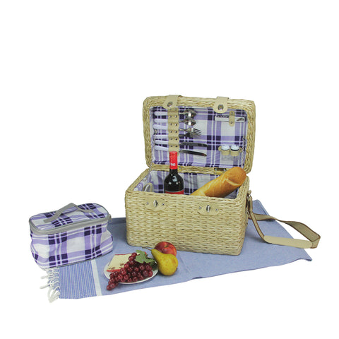 "11.75"" Cream White Hand Woven 2-Person Picnic Basket Set with Accessories"