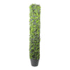 "37.5"" Potted Two-Tone Boxwood Column Artificial Topiary Tree"